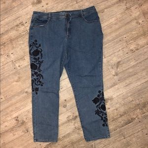 Style & Co 18w slim leg jeans with embroidery